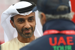 March 1, 2019 - Ajman, United Arab Emirates - Sheikh Ahmed bin Humaid Al Nuaimi, Chairman of the Economic Department of Ajman Emirate seen at the start line of the sixth Rak Properties Stage of UAE Tour 2019, a 180km with a start from Ajman and finish in Jebel Jais. .On Friday, March 1, 2019, in Ajman, Ajman Emirate, United Arab Emirates. (Credit Image: © Artur Widak/NurPhoto via ZUMA Press)