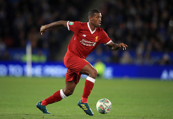 """Liverpool's Georginio Wijnaldum during the Carabao Cup, third round match at the King Power Stadium, Leicester. PRESS ASSOCIATION Photo. Picture date: Tuesday September 19, 2017. See PA story SOCCER Leicester. Photo credit should read: Mike Egerton/PA Wire. RESTRICTIONS: EDITORIAL USE ONLY No use with unauthorised audio, video, data, fixture lists, club/league logos or """"live"""" services. Online in-match use limited to 75 images, no video emulation. No use in betting, games or single club/league/player publications."""