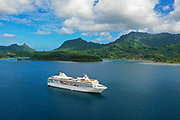 Paul Gauguin Cruise Ship, Maroe Bay, Huahine, Society Islands, French Polynesia; South Pacific