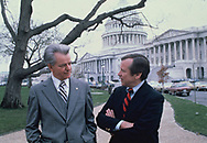 Washington, DC 1979/03/01Senate  Majority Leader Robert Byrd and Senate Minority leader Howard Baker walk and talk at the US Capitol<br /> Photo by Dennis Brack