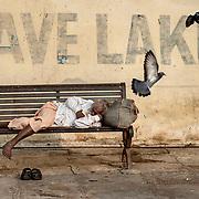 A man abandons himself on a bench while pigeons take off. Udaïpur, india on 10-12-2010. <br /> Moment of divine relaxation, slumber is a brief, timeless journey where the body abandons itself to the saving rest while the spirit offers itself a getaway, far from the considerations of existence.<br /> Un homme s'abandonne sur un banc tandis que des pigeons décollent. Udaïpur, Inde le 10-12-2010. <br /> Moment de relâchement divin, l'assoupissement, est un bref voyage intemporel ou le corps s'abandonne au repos salvateur tandis que l'esprit s'offre une escapade, loin des considérations de l'existence.