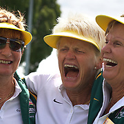 Kerry Ballard, Australia, (centre) celebrates with team mates  after her victory against Nicole Hesse-Cazaux, France secured them victory in the final of the Alice Marble Cup match during the 2009 ITF Super-Seniors World Team and Individual Championships at Perth, Western Australia, between 2-15th November, 2009.