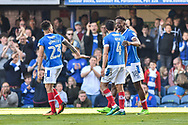 Portsmouth Players Celebrate after Portsmouth Forward, Jamal Lowe (18) scores a goal to make 3-1 during the EFL Sky Bet League 2 match between Portsmouth and Yeovil Town at Fratton Park, Portsmouth, England on 8 April 2017. Photo by Adam Rivers.