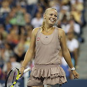 Caroline Wozniacki, Denmark, in action against Kim Clijsters, Belgium,  during the Women's Singles Final at  the US Open Tennis Tournament at Flushing Meadows, New York, USA, on Sunday, September 13, 2009. Photo Tim Clayton