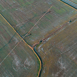 Drone view of fields and Maryland Route 335 in Church Creek, Maryland. Spring. Irrigation.