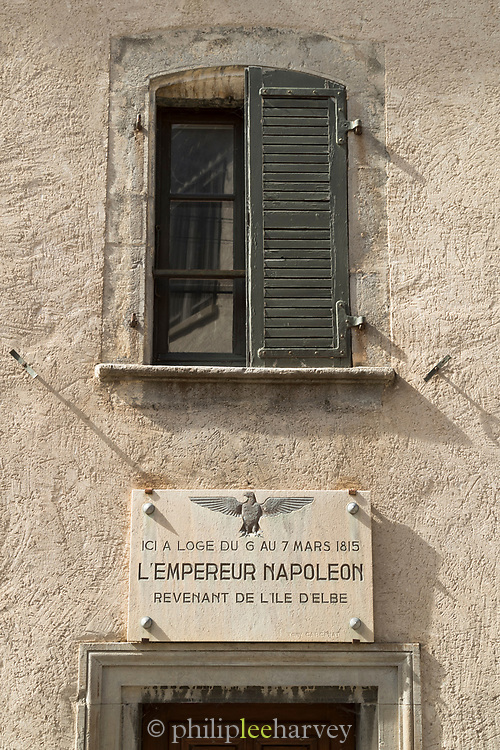 Plaque commemorating Napoleon stay in house in 1815, Corps, France