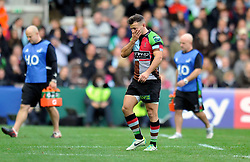 Harlequins scrum half Danny Care leaves the field - Photo mandatory by-line: Patrick Khachfe/JMP - Tel: Mobile: 07966 386802 12/10/2013 - SPORT - RUGBY UNION - Twickenham Stoop - London - Harlequins V Scarlets - Heineken Cup