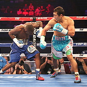 NEW ORLEANS, LA - JULY 14:  Fazlidden Gaibnazarov (R) fights Kevin Johnson during the Regis Prograis v Juan Jose Velasco ESPN boxing match at the UNO Lakefront Arena on July 14, 2018 in New Orleans, Louisiana.  (Photo by Alex Menendez/Getty Images) *** Local Caption *** Fazlidden Gaibnazarov; Kevin Johnson