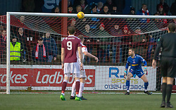 Airdrie's keeper David Hutton watches as Stenhousemuir's Thomas Halleran (15) scored their goal. Stenhousemuir 1 v 0 Airdrie, Scottish Football League Division One played 26/1/2019 at Ochilview Park.
