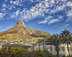 March 16, 2011 - Cape Town, Western Cape, South Africa - Lion's Head, a celebrated geographical Cape Town landmark, seen from suburban Sea Point. Cresting at 669 m. (2,195 ft) above sea level, the peak is part of the Table Mountain National Park. (Credit Image: © Arnold Drapkin/ZUMAPRESS.com)
