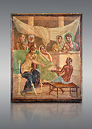 Detail of the Roman fresco wall painting of all the characters in the story of Admetus who, aided by Apollo made the Fates agree not to take Admetus on his 'death day' if he could find someone else to replace him, his wife, Alcestis, dies instead of Admetus but as she decends into the Underworld he discovers that he no longer wants to live without her, Pompeii House of the Tragic Poet, inv 9026, Naples National Archaeological Museum, grey background .<br /> <br /> If you prefer to buy from our ALAMY PHOTO LIBRARY  Collection visit : https://www.alamy.com/portfolio/paul-williams-funkystock - Scroll down and type - Roman Fresco Naples  - into LOWER search box. {TIP - Refine search by adding a background colour as well}.<br /> <br /> Visit our ROMAN ART & HISTORIC SITES PHOTO COLLECTIONS for more photos to download or buy as wall art prints https://funkystock.photoshelter.com/gallery-collection/The-Romans-Art-Artefacts-Antiquities-Historic-Sites-Pictures-Images/C0000r2uLJJo9_s0