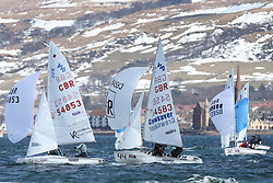 Day 1 of the RYA Youth National Championships 2013 held at Largs Sailing Club, Scotland from the 31st March - 5th April. ..420, Downwind, 54853, Annabel CATTERMOLE, Bryony BENNETT-LLOYD, Welwyn Garden City SC, and 54583, Matthew LULHAM-ROBINSON, Benjamin LULHAM-ROBINSON, Yorkshire Dales SC & Otley SC & Yeadon SC..For Further Information Contact..Matt Carter.Racing Communications Officer.Royal Yachting Association.M: 07769 505203.E: matt.carter@rya.org.uk ..Image Credit Marc Turner / RYA..