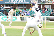 Muhammad Abbas bowling to Luis Reece during the Specsavers County Champ Div 2 match between Leicestershire County Cricket Club and Derbyshire County Cricket Club at the Fischer County Ground, Grace Road, Leicester, United Kingdom on 27 May 2019.