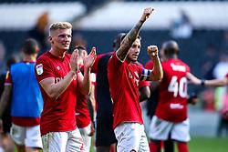 Josh Brownhill of Bristol City and Taylor Moore of Bristol City celebrate victory over Hull City - Mandatory by-line: Robbie Stephenson/JMP - 24/08/2019 - FOOTBALL - KCOM Stadium - Hull, England - Hull City v Bristol City - Sky Bet Championship