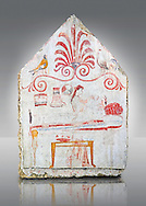 Lucanian fresco tomb painting of the deceased on her death bed ( porthesis). Paestrum, Andriuolo. Tomb 86 ( 330-320 BC ) .<br /> <br /> If you prefer to buy from our ALAMY PHOTO LIBRARY  Collection visit : https://www.alamy.com/portfolio/paul-williams-funkystock - Scroll down and type - Paestum Fresco - into LOWER search box. {TIP - Refine search by adding a background colour as well}.<br /> <br /> Visit our ANCIENT GREEKS PHOTO COLLECTIONS for more photos to download or buy as wall art prints https://funkystock.photoshelter.com/gallery-collection/Ancient-Greeks-Art-Artefacts-Antiquities-Historic-Sites/C00004CnMmq_Xllw