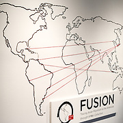 The main title image of the Fusion: Tracing Asian Migration to the Americas through AMA's Collection exhibit at the Art Museum of the Americas, housed in a 1912 Spanish colonial building that is part of the Organization of American States complex in Washington DC's Foggy Bottom district.