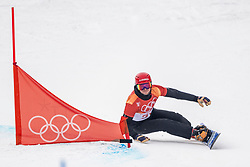 PYEONGCHANG, SOUTH KOREA - FEBRUARY 24: Bronze medal winner Zan Kosir #20 of Slovenia in action during the Men's Snowboard Parallel Giant Slalom competition at Phoenix Snow Park on February 24, 2018 in PyeongChang, South Korea.  Photo by Ronald Hoogendoorn / Sportida