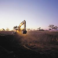 Shift change - Excavator working into the night<br /> Kimberley Diamond Mine<br /> Ellendale