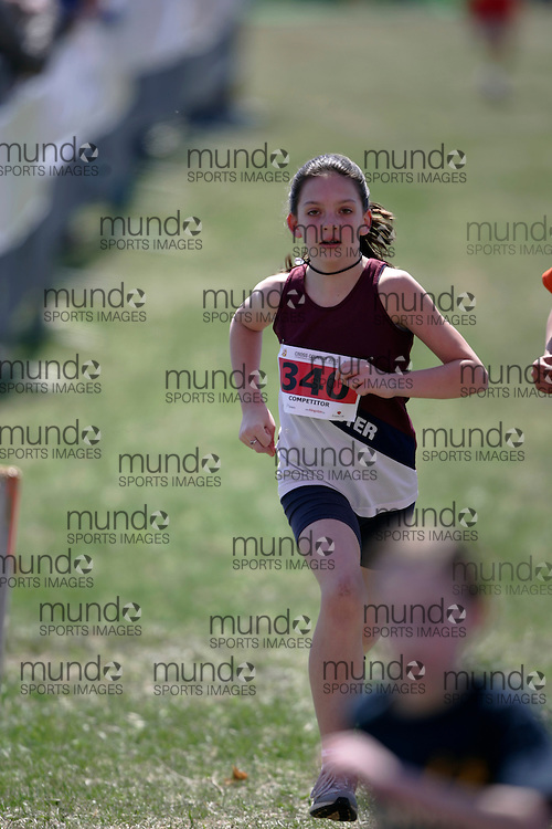 (Kingston, Canada---11 April 2010) Tyanna  Craig (#340) of Lancaster Drive PS runs in the Elementary Girls race at the 17th World University Cross Country Championships (FISU) held on the Fort Henry Hill course in Kingston, Ontario, Canada. .Geoff Robins/ Mundo Sport Images..This photograph is Copyright Geoff Robins / Mundo Sport Images, 2010. For information, go to www.mundosportimages.com or contact info@mundosportimages.com.