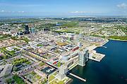 Nederland, Flevoland, Almere, 07-05-2015;  Overzicht Stadshart Amere, Weerwater in de voorgrond.<br /> <br /> City entre of the new town Almere.<br /> luchtfoto (toeslag op standard tarieven);<br /> aerial photo (additional fee required);<br /> copyright foto/photo Siebe Swart