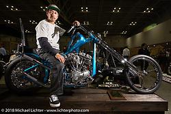 Luck Motorcycles' Masayuki Sugihara with his  Harley-Davidson Shovelhead Chopper at the 27th Annual Mooneyes Yokohama Hot Rod Custom Show 2018. Yokohama, Japan. Sunday, December 2, 2018. Photography ©2018 Michael Lichter.