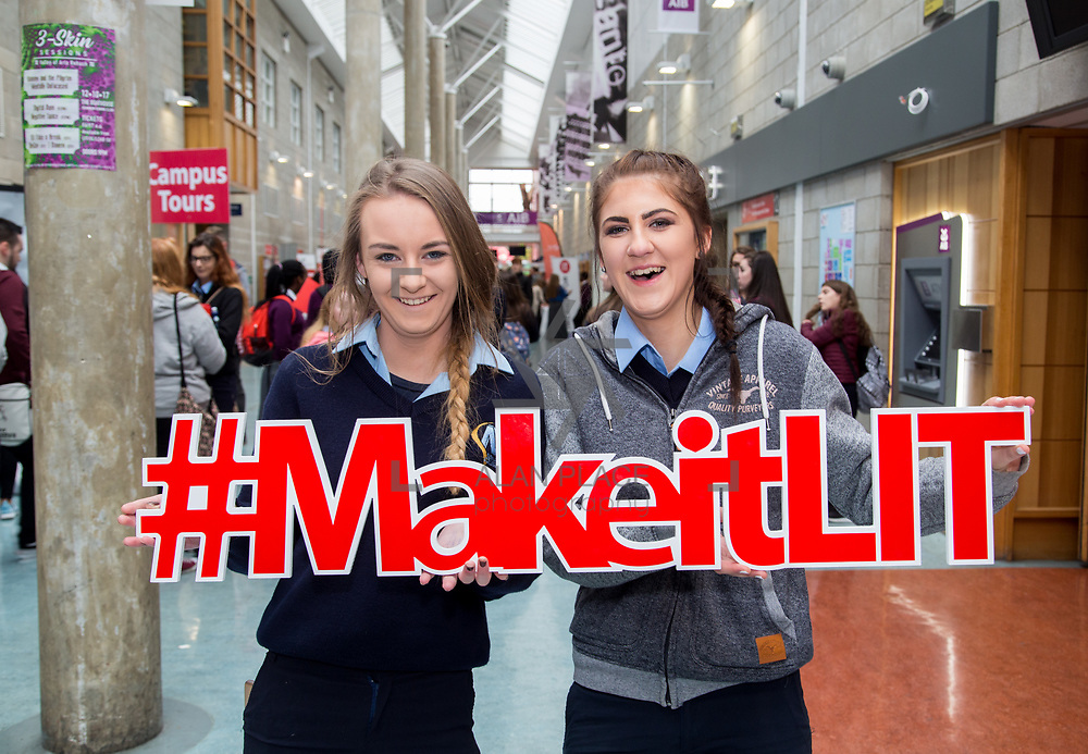 20.10.17.            <br /> Enjoying the LIT (Limerick School of Technology) open day were, Eva Lawlor and Olwia Imbiorowska, Nenagh College. Picture: Alan Place
