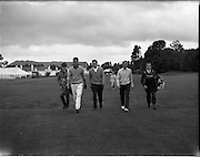 21/07/1962<br /> 07/21/ 1962<br /> 21 July 1962<br /> Woodbrook Irish Hospitals' Golf Tournament at Woodbrook Golf Course, Dublin, Saturday. S. Davies, (South Africa); J. Kinsella (Castle, Dublin) and J.J. McEvoy (Belvoir Park) on the 1st Tee.