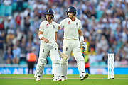 Rory Burns of England and Joe Denly of England walk off at the end of play on day 2 with Rory Burns being reprieved after being wrongly given out lbw on review during the 5th International Test Match 2019 match between England and Australia at the Oval, London, United Kingdom on 13 September 2019.