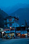 India, Kasol, Kullu District, Himachal Pradesh, Northern India Night shot of the city long exposure