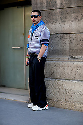 Street style, Alex Badia arriving at Valentino Spring-Summer 2019 menswear show held at Musee des Arts Decoratifs, in Paris, France, on June 20th, 2018. Photo by Marie-Paola Bertrand-Hillion/ABACAPRESS.COM