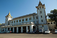 Yangon Central Railway Station is the largest railway station in Myanmar. It is the gateway to Myanmar Railways' 3126 mile (5031kilometer) rail network. The station was built in 1877 by the British but destroyed in 1943 from advancing Japanese forces. The current station designed in traditional Burmese architectural style was completed in 1954. Yangon Central Railway Station has been designated a city landmark building since 1996.