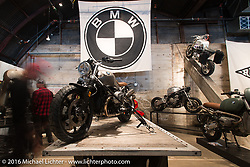 BMW R nineT Scrambler on Saturday in the Handbuilt Motorcycle Show. Austin, TX, USA. April 9, 2016.  Photography ©2016 Michael Lichter.