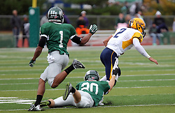 18 October 2014:  Sam Frasco runs the option  getting slowed down my Zach Till (DB)  during an NCAA division 3 football game between the Augustana Vikings and the Illinois Wesleyan Titans in Tucci Stadium on Wilder Field, Bloomington IL