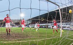 Falkirk's Myles Hippolyte scoring their goal. Dunfermline 1 v 1 Falkirk, Scottish Championship game played 26/12/2016 at East End Park.