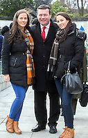 Twin sisters Ruth and Sarah Connolly from Bray, Co. Wicklow are the great grand daughters of James Connolly. They were with Alan Kelly, Deputy Leader of the Labour party at the wreath laying ceremony in The Garden of Remebrance on Saturday.<br />Photo: Tony Gavin 26/3/2016