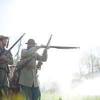 Confederate soldiers open fire during the Battle of Perryville 150th Anniversary in Perryville, Kentucky on October 6, 2013.