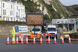 © Licensed to London News Pictures. 22/12/2020. Dover, UK.  The Port of Dover remains closed in Dover, France has closed its border with the UK for 48 hours over concerns about the new coronavirus variant. Freight lorries cannot cross by sea or through the Eurotunnel and the Port of Dover has closed to outbound traffic Photo credit: London News Pictures