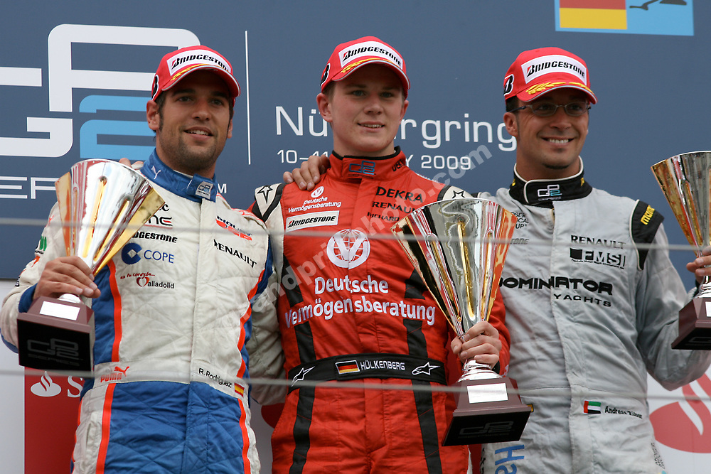 Podium of race 1 in GP2 at the 2009 German Grand Prix at the Nurburgring with winner Nico Hulkenberg, Roldan Rodriguez and Andreas Zuber. Photo: Grand Prix Photo