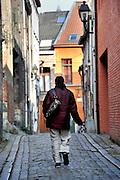 Gent, Belgie, Mar 14, 2009, Kleurrijke Ballenstraat in het Patershol©Christophe VANDER EECKEN