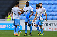 GOAL CELEBRATION Andre Wright is congratulated after putting Coventry 2-0 up during the EFL Sky Bet League 1 match between Coventry City and Rochdale at the Ricoh Arena, Coventry, England on 22 October 2016. Photo by Daniel Youngs.