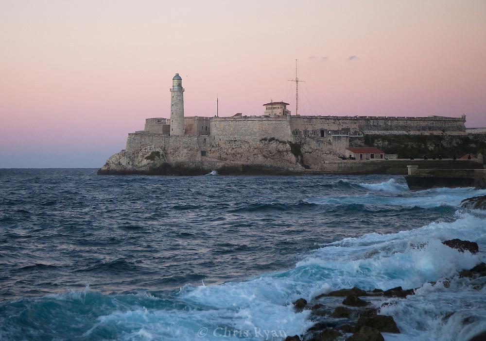 Faro del Morro (lighthouse) at dusk, Havana, Cuba