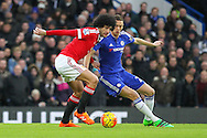 Marouane Fellaini of Manchester United battles with Chelsea's Nemanja Matic during the Barclays Premier League match between Chelsea and Manchester United at Stamford Bridge, London, England on 7 February 2016. Photo by Phil Duncan.