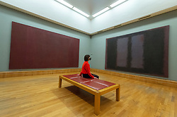 © Licensed to London News Pictures. 15/10/2020. London, UK. Painting (L) titled Red on Maroon (1959)  and painting titled Black on Maroon (1958) by artist Mark Rothko are displayed as part of the Tate Britain's new collection displays inviting visitors to follow a route inside the venue. Photo credit: Ray Tang/LNP