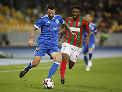 August 24, 2017 - Tamás Kádár (L) of Dynamo vies for the ball with Jean Clebe (R) of Maritimo  during the Europa League second play-off soccer match between FC Dynamo Kyiv and FC Maritimo, at the Olimpiyskyi stadium in Kyiv, Ukraine, August 24, 2017. (Credit Image: © Anatolii Stepanov via ZUMA Wire)