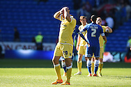Gary Taylor-Fletcher of Millwall (29) shows his frustration at the final whistle after he had missed a late chance to score.Skybet football league championship, Cardiff city v Millwall at the Cardiff city stadium in Cardiff, South Wales on Saturday 18th April 2015<br /> pic by Andrew Orchard, Andrew Orchard sports photography.
