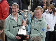 Putney, London, left George NASH and Fred GILL with the Trophy, after Cambridge win the156th University Boat Race, River Thames, between Putney and Chiswick, on the Championship Course.  Saturday  03/04/2010 [Mandatory Credit Karon Phillips/Intersport Images]