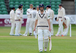 Dejection for Middlesex's Adam Voges as he is dismissed for 98- Photo mandatory by-line: Harry Trump/JMP - Mobile: 07966 386802 - 27/04/15 - SPORT - CRICKET - LVCC Division One - County Championship - Somerset v Middlesex - Day 2 - The County Ground, Taunton, England.