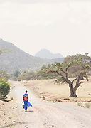 Girl with bag near town of Hausien. Ethiopia, Horn of Africa
