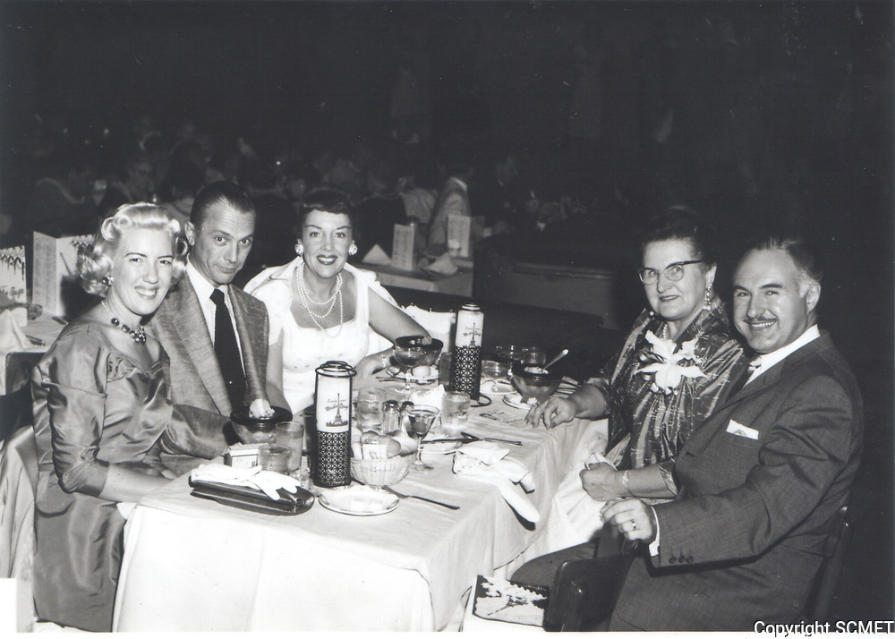 1955 Jayne Liberace, Ray Iverson, Dorthea Iverson, Mama Liberace & George Liberace at the Moulin Rouge in Hollywood