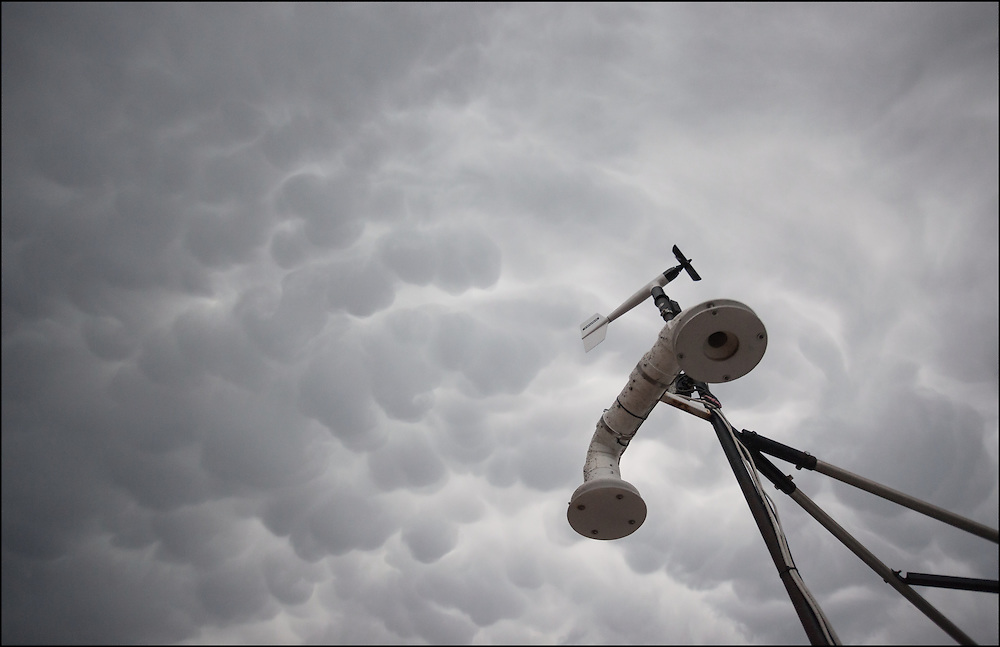Anemometer collecting current weather data with mammatus clouds from the leading edge of a developing thunderstorm in the Texas Panhandle.